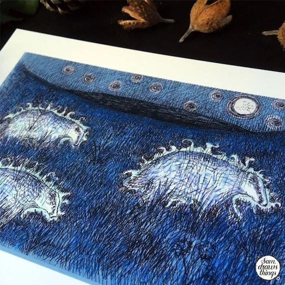Ghost badgers - art print