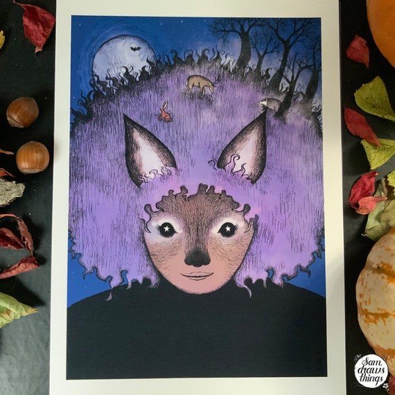Werewolf girl with a forest in her hair - art print
