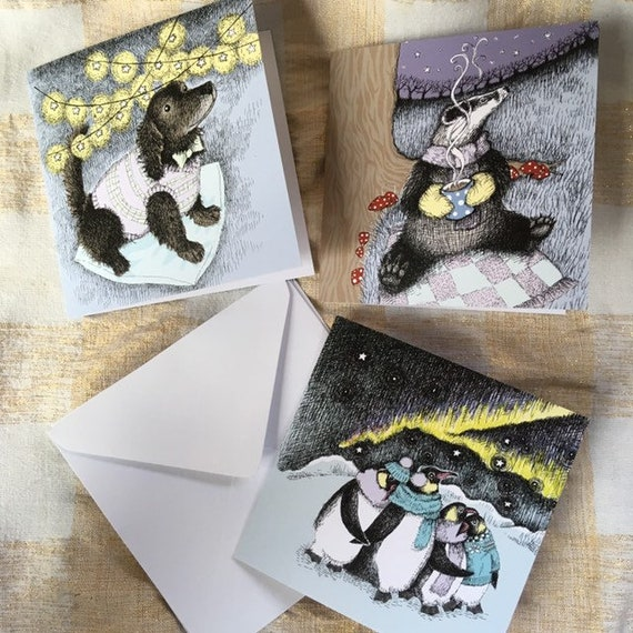 Dog, badger and penguin Christmas cards