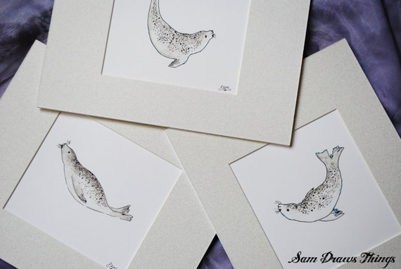 Set of 3 Swimming Seal Prints