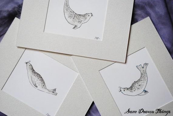 Set of 3 Swimming Seal Prints