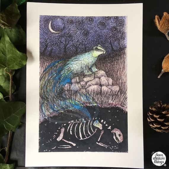 Badger ghost and skeleton - art print