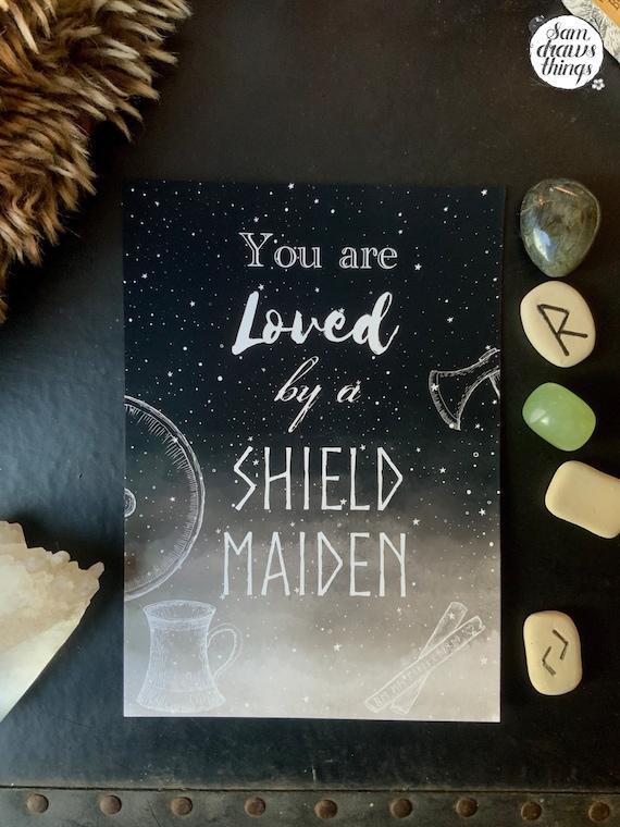 CUSTOMISABLE Viking shield maiden love art print for Valentine's Day