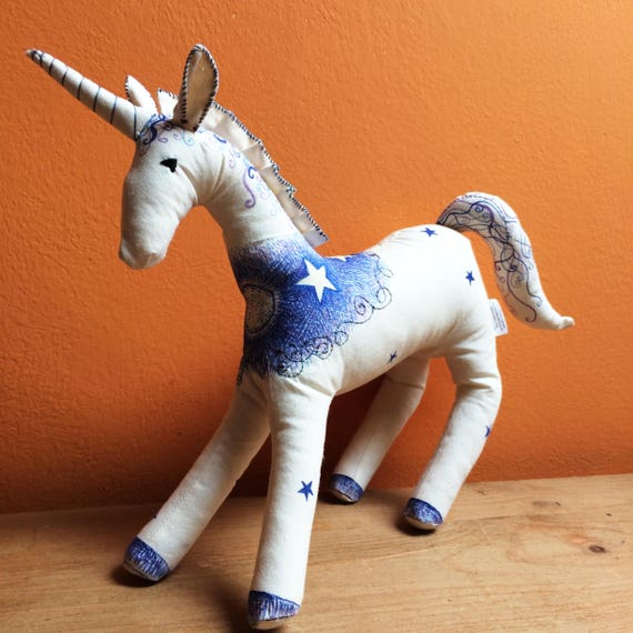 Lunacorn: Hand decorated unicorn art doll