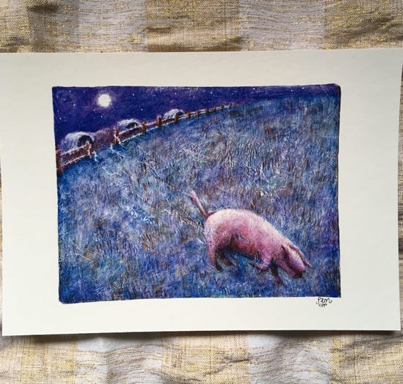 Pig escape - art print
