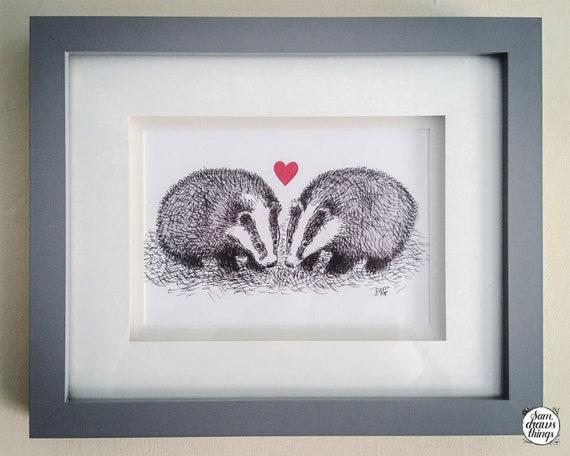 Snuffling together - badger art print