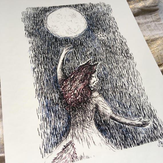 Wolf girl - art print