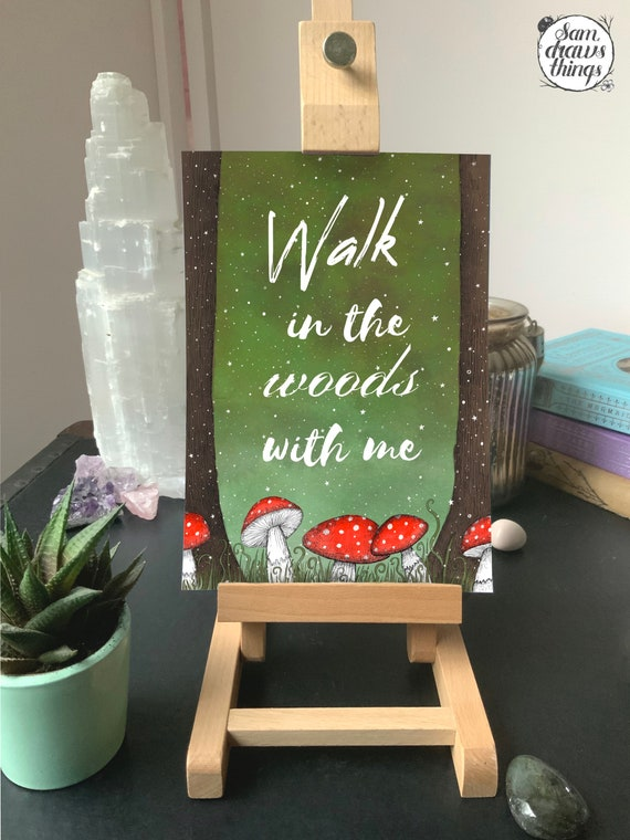 Walk in the woods with me - art print for Valentines Day