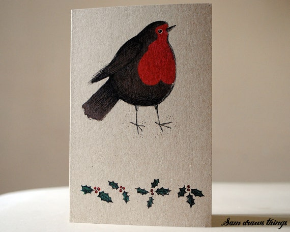 SALE: Robin Christmas card on recycled brown card