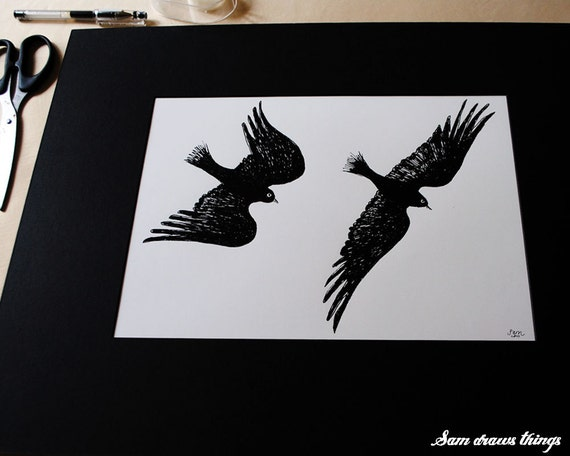 Happily Ever After: Flying Jackdaw Couple - giclee print on archival paper