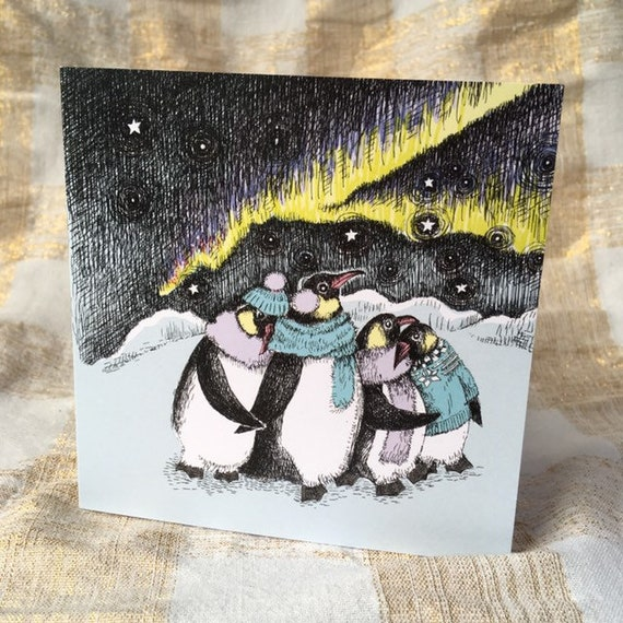 SALE Cosy Penguin Christmas cards set of three