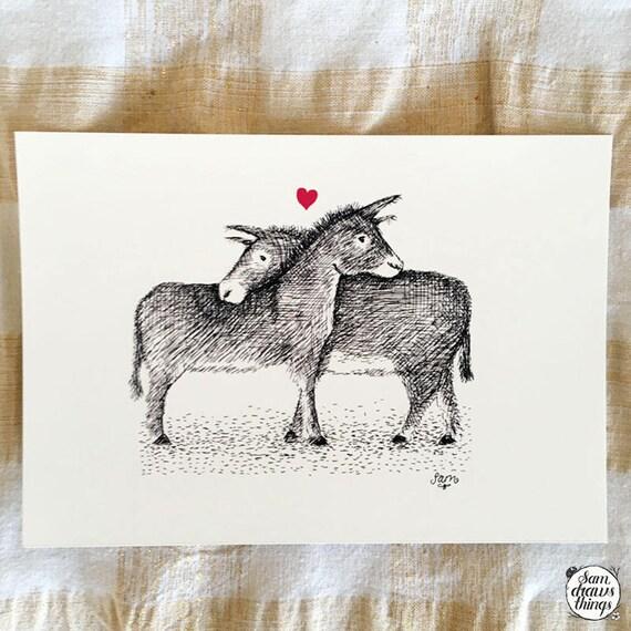 Donkeys in Love - art print