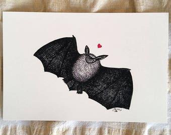 Batty for You - bat art print