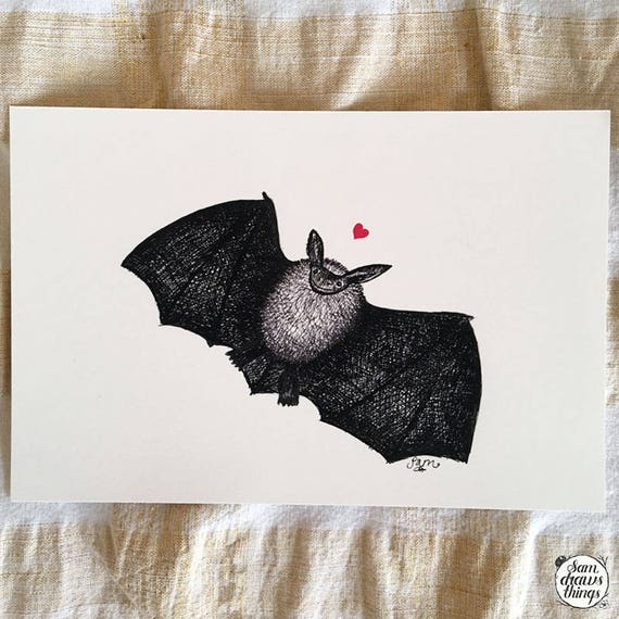 Batty for You - bat art print