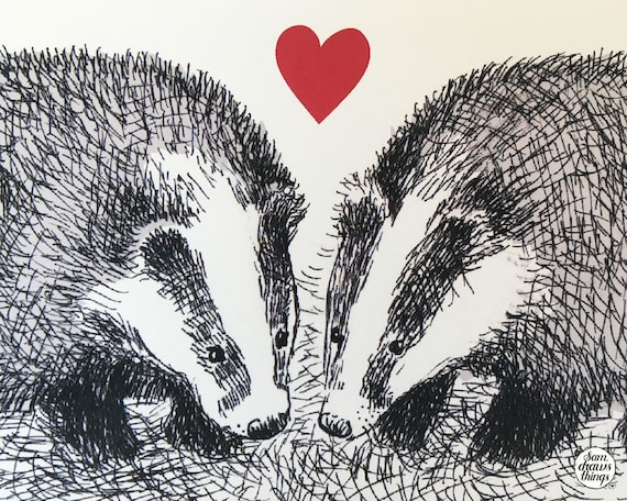 Snuffling together - badger art print