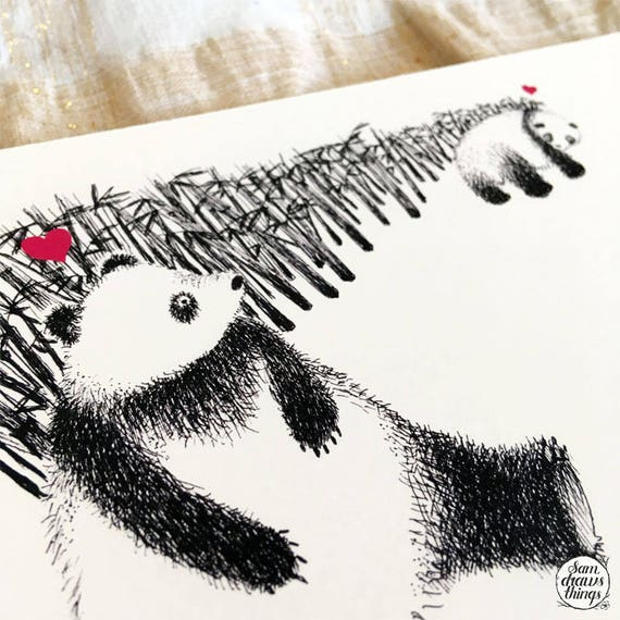 Pandas in Love - art print
