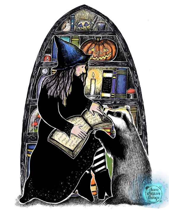 A witch and a badger - art print