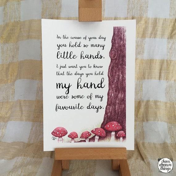 Thank you for holding my hand -  art print - teacher/nursery/preschool gift