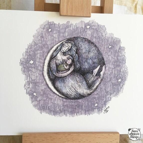 Mama Moon art print - nursery art