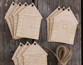 10x Wooden Beach Hut Craft Shapes 3mm Ply with Detail