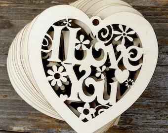 2 x Scallop Heart Shapes  Laser Cut 3mm Plywood 9cm x 9cm