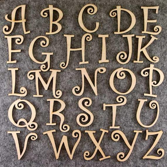 Alfabeto conjunto de fuente Curlz 3 mm o 6 mm de madera contrachapada Minúsculas A-Z 26 caracteres