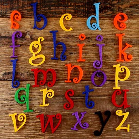 Curlz Alphabet Set 3mm Felt Upper Case Letters A-Z 26 Characters Sizes 5-12cm
