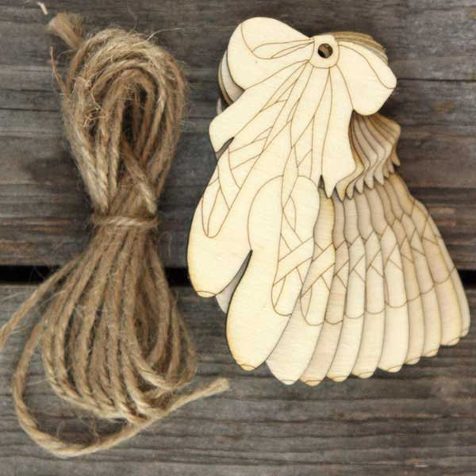 10x wooden hanging ballet shoes craft shapes 3mm plywood with detail