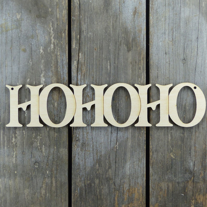 10x Wooden HOHOHO Chain Word Victoria Font 3mmPlywood Shape Christmas Decoration