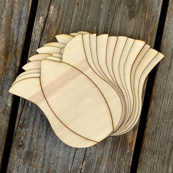 10x Wooden Tulip Head Craft Shapes 3mm Plywood Flower