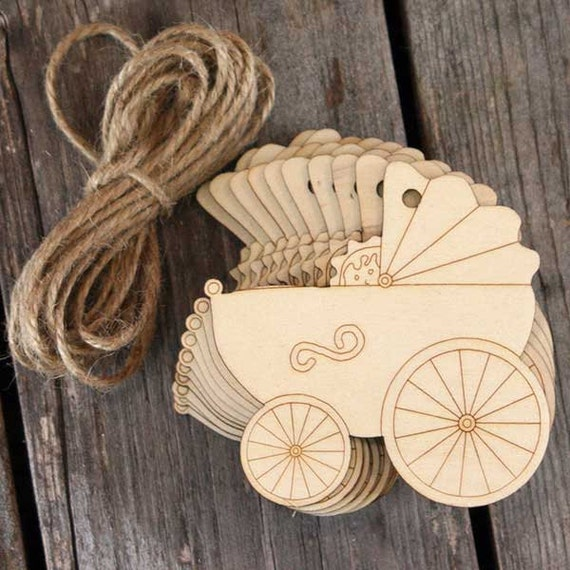10x Wooden Old Fashioned Pram Craft Shapes 3mm Plywood with Detail