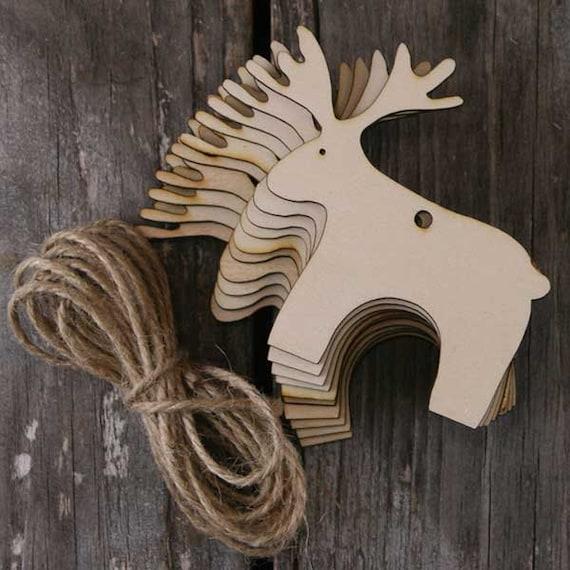 10x Wooden Simple Reindeer Craft Shape 3mm Plywood Christmas