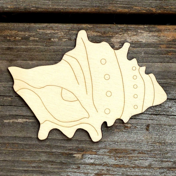10x Wooden Sea Shell Murex Craft Shapes 3mm Plywood