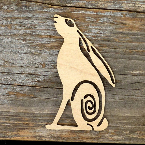 10x Wooden Hare Running and Bounding Craft Shapes 3mm Plywood Animal Wildlife