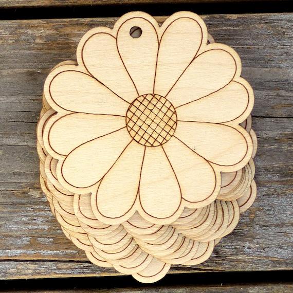 10x Wooden Poppy Flower Comic Craft Shape 3mm Ply Flowers Trees