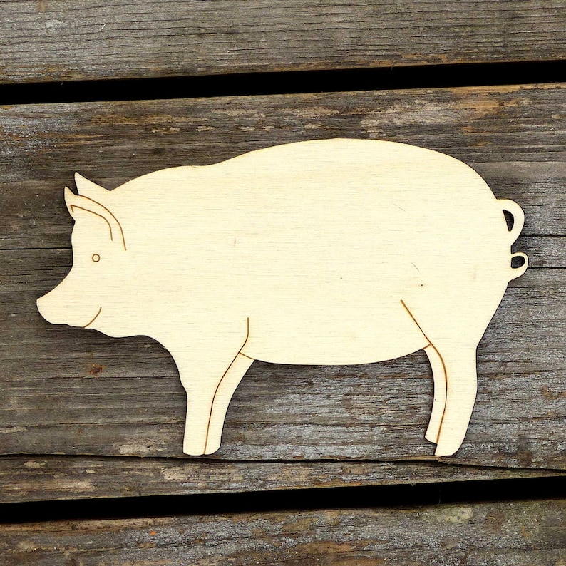 10x Wooden Pig Standing Plain Craft Shapes 3mm Plywood