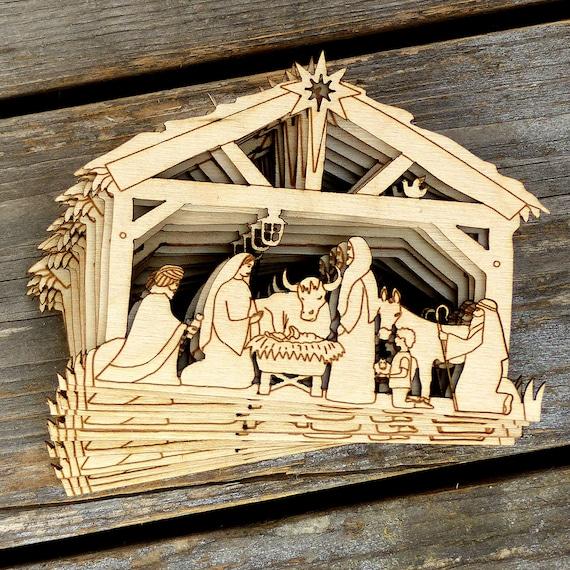 10x Wooden Nativity Manger Scene Craft Shape 3mm Ply Christmas Decoration