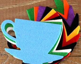 10x 3mm Thick Felt Tea Cup Craft Shapes Sizes 6, 8, 10cm; 11 Colours
