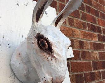 White rabbit head/ white rabbit paper mache/ faux taxidermy