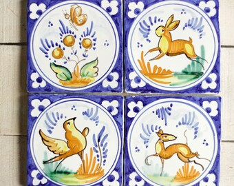 Spain tile, tile set, antique majolica,  wall decor, wall art, ceramic coaster, outdoor indoor wall art ceramic, pottery majolica, bird
