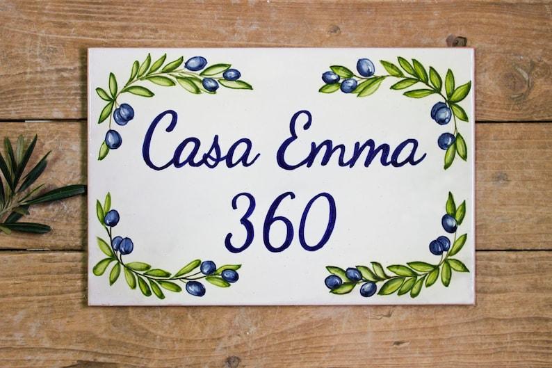 Numero di casa con rami di oliva piastrelle in ceramica etsy