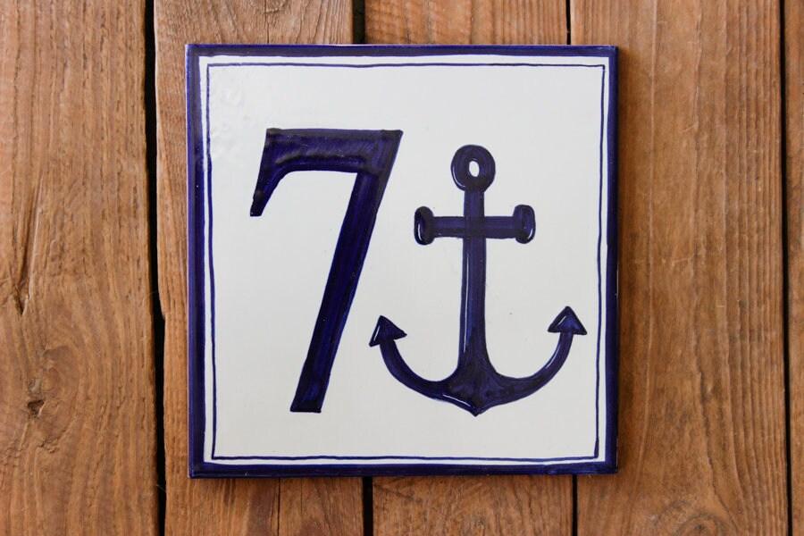 Mattonelle di numero con ancoraggio blu piastrelle etsy