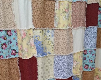 Shabby Chic Shower Curtain Farmhouse Rag Quilt Country Bathroom Decor Handmade Custom Design
