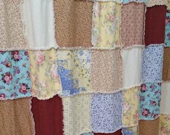 Shabby Chic Shower Curtain Farmhouse Rag Quilt Country Bathroom Decor Handmade Custom Design
