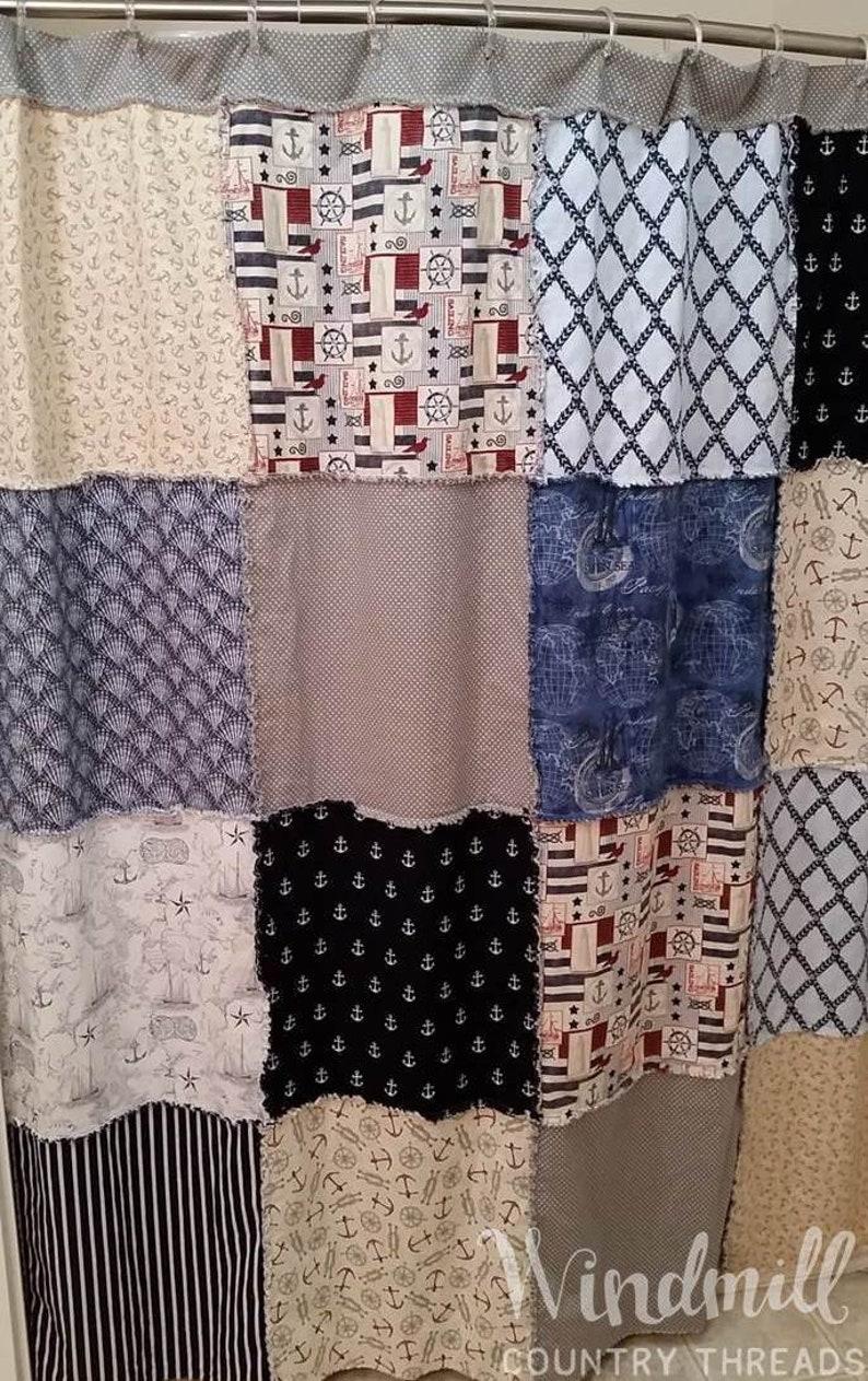 Nautical Shower Curtain Farmhouse Rag Quilt