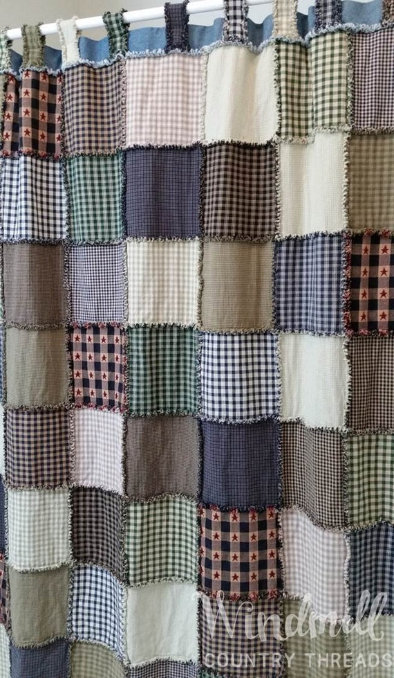 Farmhouse Shower Curtain With Tabs Rag Quilt Rustic Country