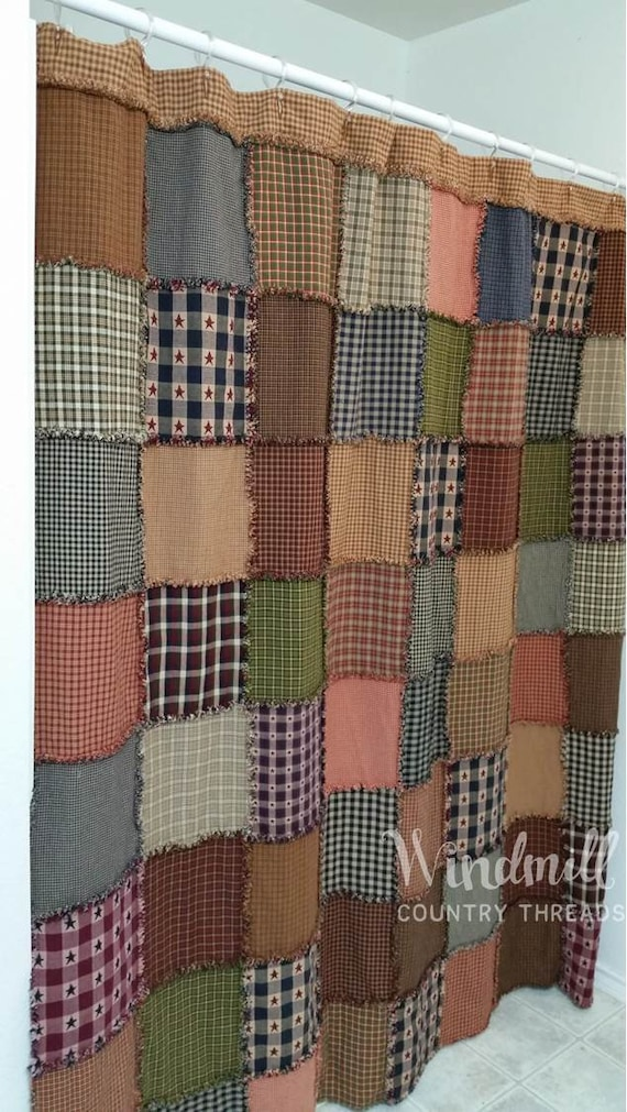 Farmhouse Shower Curtain Rag Quilt Warm Colors Rustic