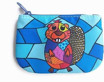 coin purse, change purse, card holder wallet, penny bag beaver, money bag, pouch, beaver pouch
