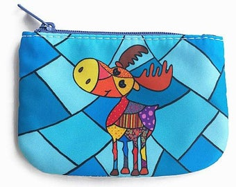 coin purse, change purse, card holder wallet, penny bag of moose, wallet, small pouch