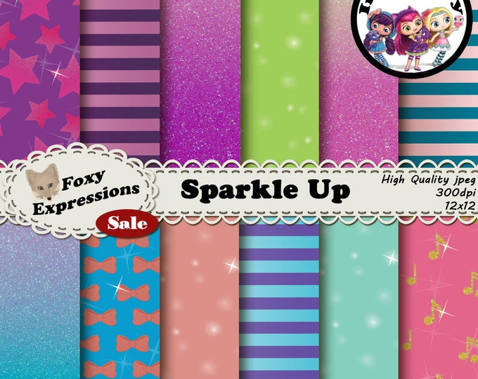 Sparkle Up inspired by Little Charmers in pink, purple, green, and blue. Designs include sparkles, glitter, stripes, bows, stars, & notes